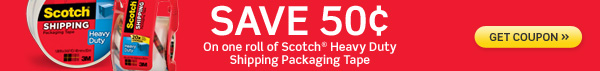 Save $.50 on Scotch Heavy Duty Shipping Packaging Tape