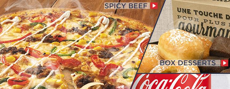 Spicy Beef   Box Desserts   Coca