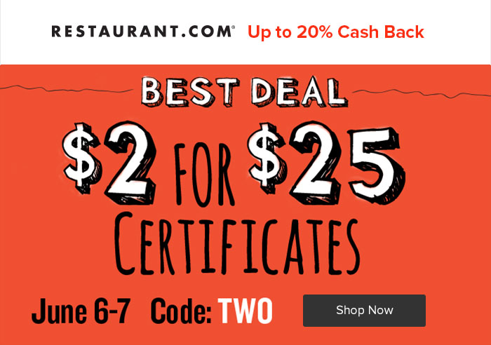 Restaurant.com - 20% Cash Back